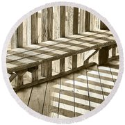 Wooden Lines - Semi Abstract Round Beach Towel