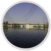 Wooden Logs Mounted In The Middle Of The Dal Lake In Srinagar Round Beach Towel