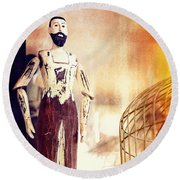 Wooden Man Round Beach Towel