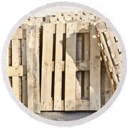 Wooden Pallets Round Beach Towel by Tom Gowanlock