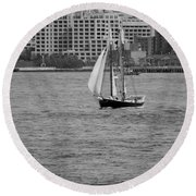 Wooden Ship On The Water Round Beach Towel
