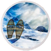 Wooden Snowshoes  Round Beach Towel by Bob Orsillo