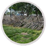 Wooden Spiked Fence Round Beach Towel