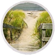 Wooden Stairs Over Dunes At Beach Round Beach Towel