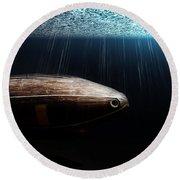 Wooden Submarine Ictineo II Dv Round Beach Towel