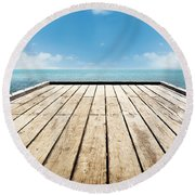 Wooden Surface Sky Background Round Beach Towel