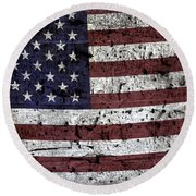 Wooden Textured U. S. A. Flag Round Beach Towel
