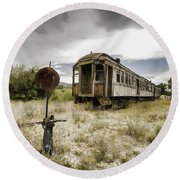 Wooden Train - Final Resting Place  Round Beach Towel