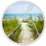 Wooden Walkway Over Dunes At Beach Round Beach Towel