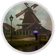 Wooden Windmill In Holland Round Beach Towel