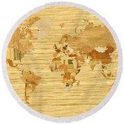 Wooden World Map 2 Round Beach Towel