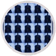 Woodgrain Guitar Blue Round Beach Towel