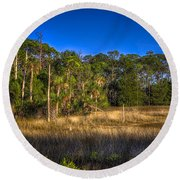 Woodland And Marsh Round Beach Towel by Marvin Spates