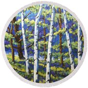 Woodland Birches Round Beach Towel
