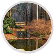 Woodland Bridge 2014 Round Beach Towel