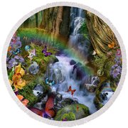 Woodland Forest Fairyland Round Beach Towel by Alixandra Mullins