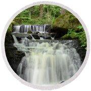 Woodland Waterfall Round Beach Towel