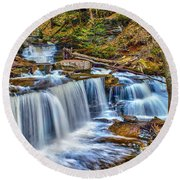 Wateralls In The Woods Round Beach Towel