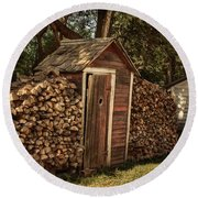 Woodpile And Shed Round Beach Towel