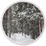 Woods In Winter Round Beach Towel