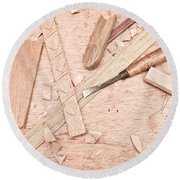 Woodwork Round Beach Towel by Tom Gowanlock