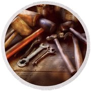 Woodworker - A Collection Of Hammers  Round Beach Towel