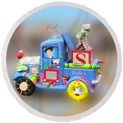 Woody Wagon Round Beach Towel