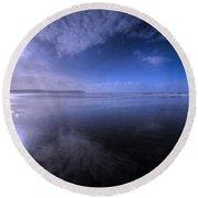 Woolacombe Beach In Blue  Round Beach Towel