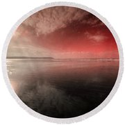 Woolacombe Beach In Red  Round Beach Towel