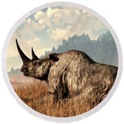 Woolly Rhino And A Marmot Round Beach Towel
