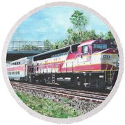 Worcester Bound T Train Round Beach Towel