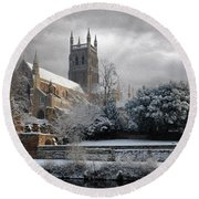 Worcester Cathedral Cloudy Round Beach Towel
