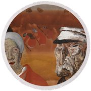 Workers In The Fields Round Beach Towel