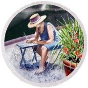 Working Artist Round Beach Towel