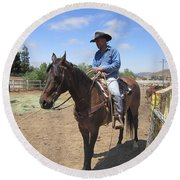 Working Cowboy Round Beach Towel