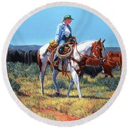 Working Cowgirl Round Beach Towel