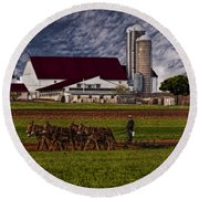 Working The Fields Round Beach Towel