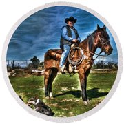Working The Ranch Round Beach Towel