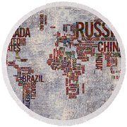 World Map Typography Artwork Round Beach Towel