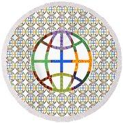 World Globe Earth Travel Graphic Digital Colorful Pattern Signature Art  Navinjoshi Artist Created I Round Beach Towel