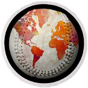 World Map - Rainbow Passion Baseball Square Round Beach Towel by Andee Design