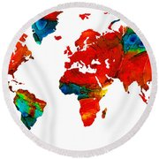 World Map 12 - Colorful Red Map By Sharon Cummings Round Beach Towel