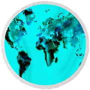 World Map 15 Round Beach Towel