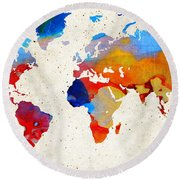 World Map 18 - Colorful Art By Sharon Cummings Round Beach Towel