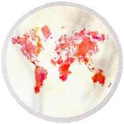 World Map 1h Round Beach Towel