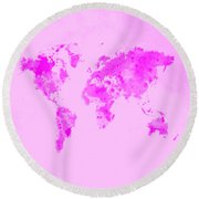 World Map 1n Round Beach Towel