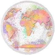 World Map 2 Digital Watercolor Painting Round Beach Towel