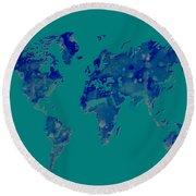 World Map 2b Round Beach Towel