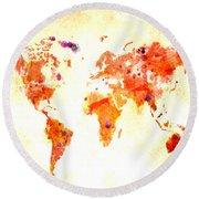 World Map 2d Round Beach Towel