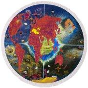 World Map And Barack Obama Stars Round Beach Towel by Augusta Stylianou